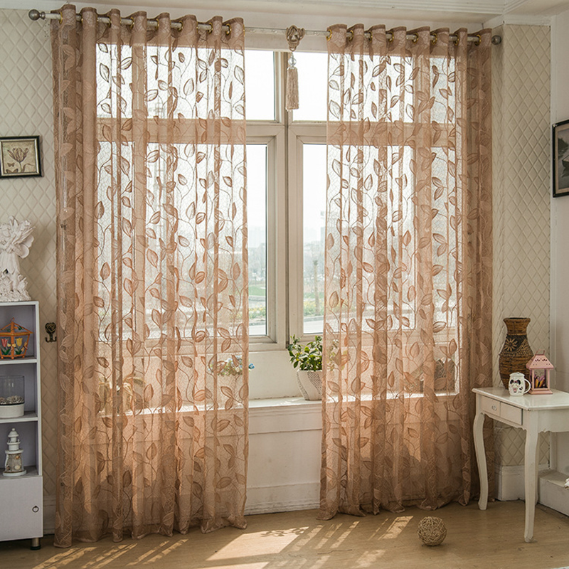 Stylish Tulle Balcony Curtain Divider Sheer Chic Leaf/Flower Room Window Valance AA