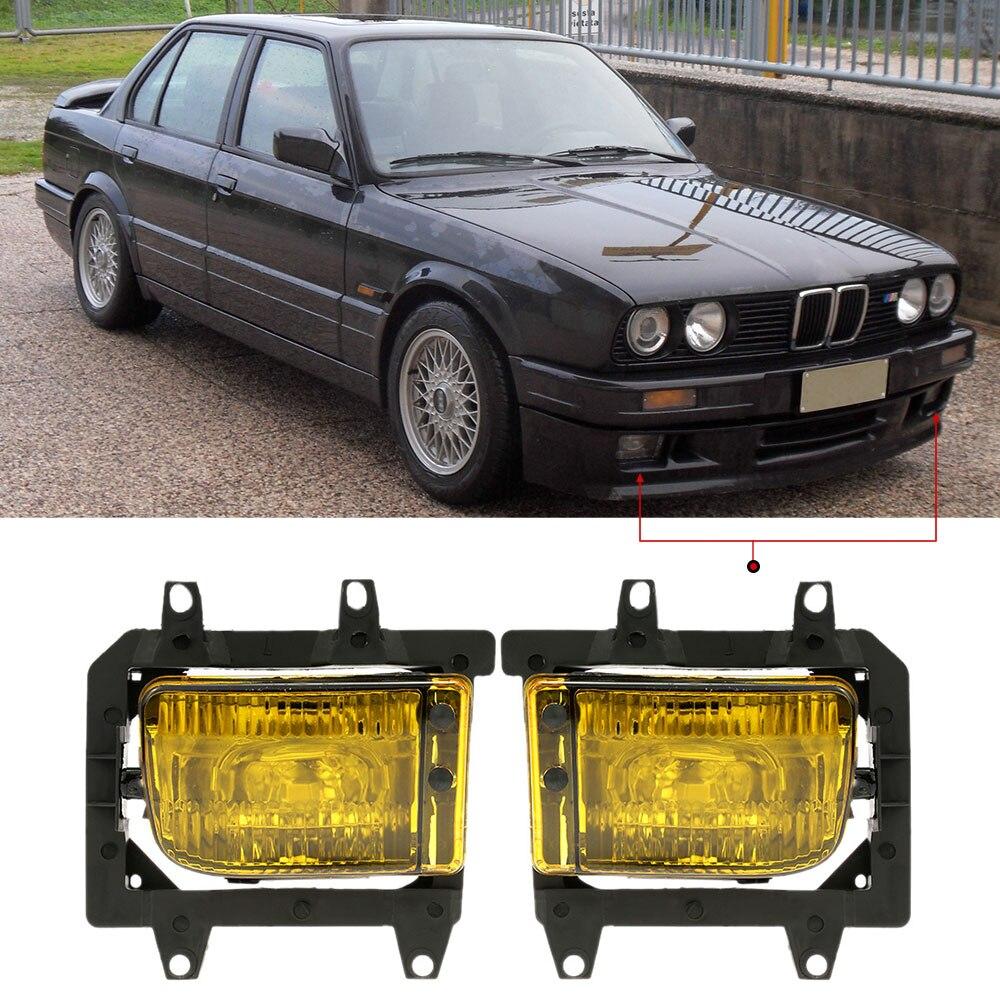 Pair of Left amp Right Front Fog Light Transparent Plastic Lens Kit for BMW E30 3