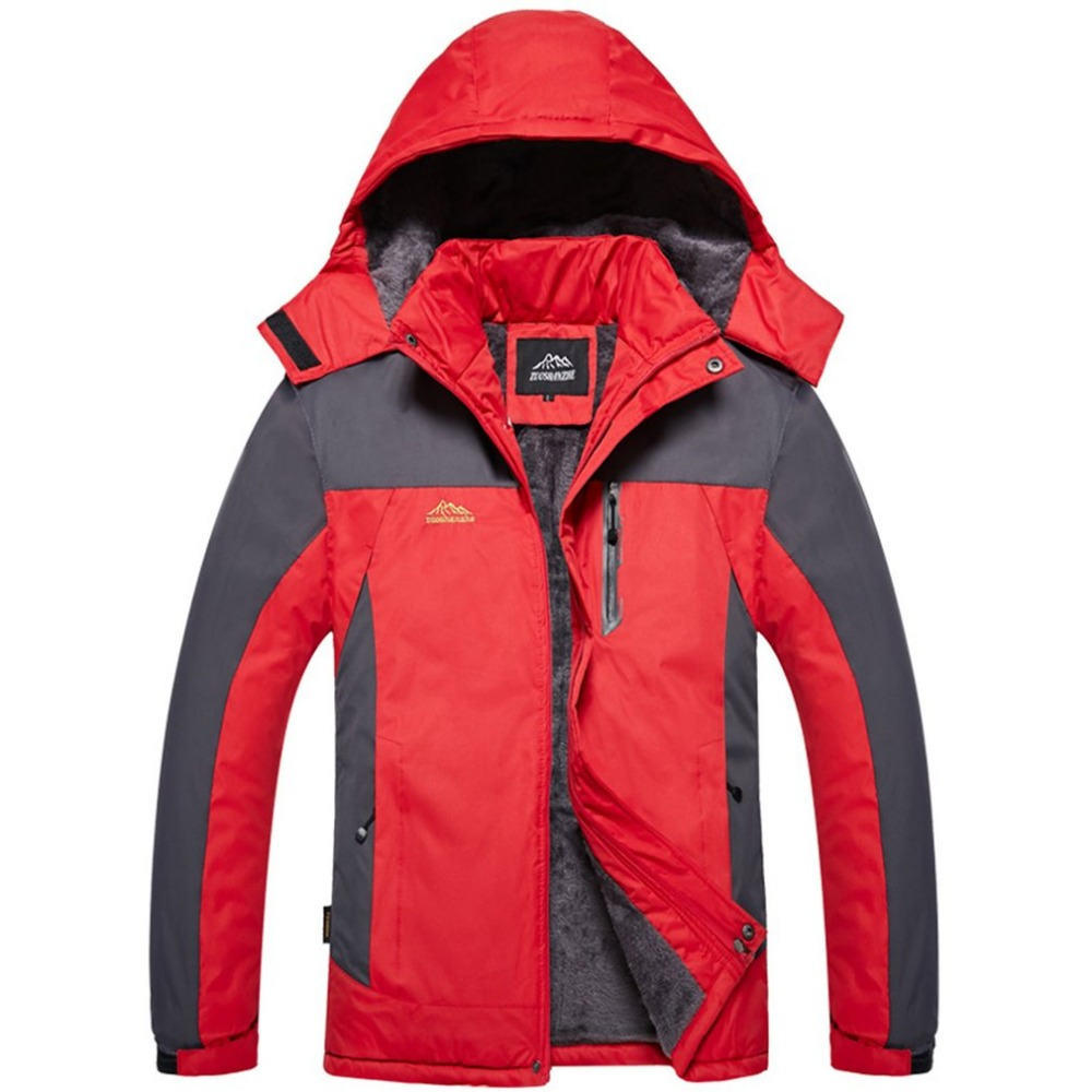 New OUTAD Men's Winter Inner Fleece Waterproof Hooded Jacket Outdoor Sport Warm Coat Jackets with Detachable Inner As Sweater colorvalue winter double zipper running jacket women hooded fitness coat long sleeve sport yoga coat with pocket and thumb holes