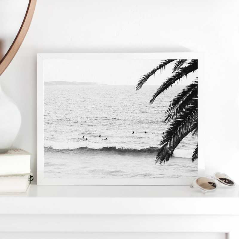 Surf Wall Art Canvas Posters Prints Modern Photography Palm Tree Painting Black and White Picture Beach House Wall Art Decor