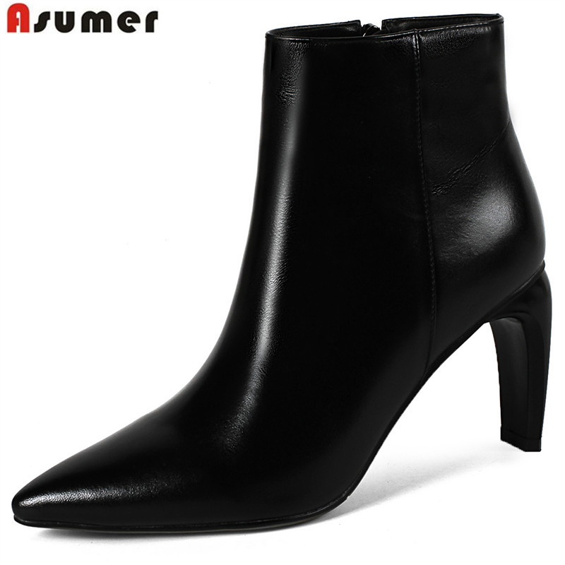 ASUMER Plus size 34-43 genuine leather boots ankle boots pointed toe zip autumn winter boots women high heels shoes woman asumer black fashion autumn winter boots women pointed toe zip genuine leather boots thick high heels ankle boots big size 33 43
