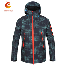 Shark Skin Soft Shell Jacket Men Rain-proof Waterproof Jacket Windbreaker Stripe Hooded Jaquetas Brand Clothing Warm Veste Homme