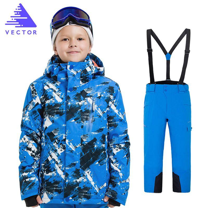 Extérieur garçons Ski snowboard vêtements veste imperméable + pantalon enfants hiver Ski ensembles enfants neige costume manteaux Ski costume