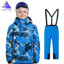 цена на Outdoor Boys Skiing Snowboarding Clothing Waterproof Jacket + Pants Kids Winter Ski Sets Children Snow Suit Coats Ski Suit