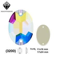 7X10mm / 11X16mm / 17X24mm 2018 Novi izdelek visoko kakovostno ravno steklo z dvojno luknjo za pripenjanje okrasnih okrasnih Oval AB barvni dodatki