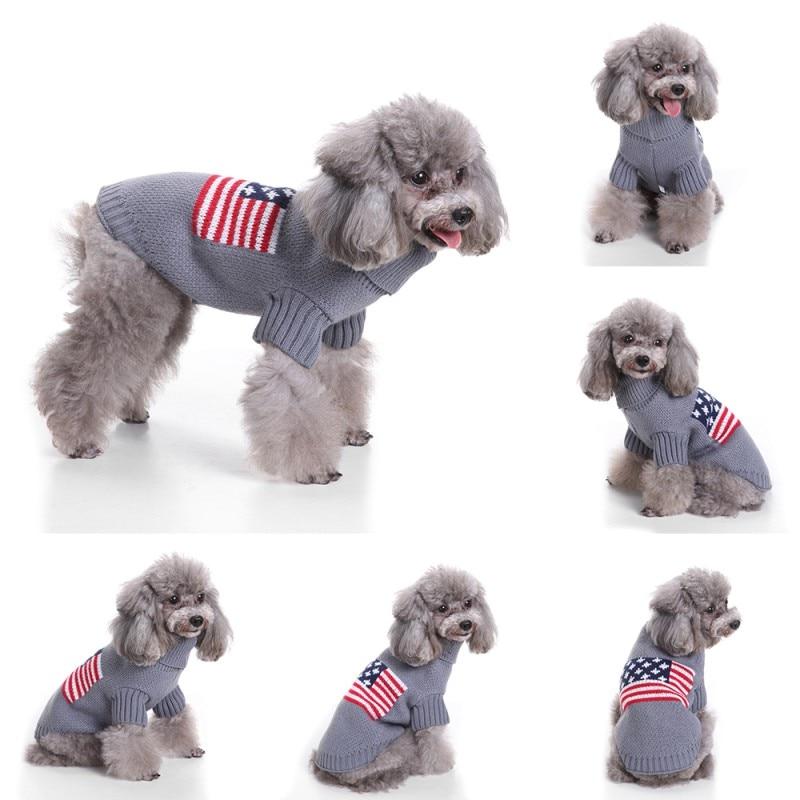 Pet Dog US Flag Pattern Sweater Warm Knitting Crochet Christmas Pet ...