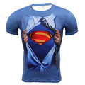 Новый 2016 Brand Clothing Фитнес Бодибилдинг Сжатия Рубашка Мужчины Бэтмен Супермен С Коротким рукавом 3D Майка Crossfit Топы Рубашки