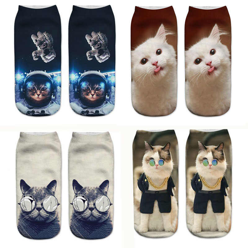 3D Cartoon Cat Woman Socks Funny Animal Printed Fashion Girls Short Ankle Socks Pregnant Female Ladies Socks Sokken