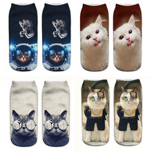 3D Cartoon Cat Woman Socks Funny Animal Printed Fashion Girls Short Ankle Socks Pregnant Female Ladies Socks Sokken(China)