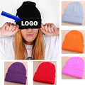 Free Blank Sample Beanie Adult Custom Candy color  hats Winter Logo Embroidery Beanies Casual Warm Beanie Hip hot Hats