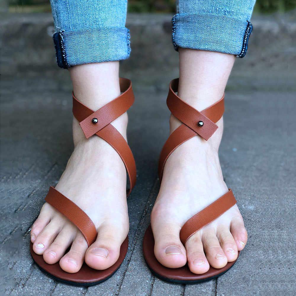 Sandalias estilo romano 2020 para mujer, zapatos con correas Retro de verano para mujer, calzado para playa informal con Tobillo plano, Sandalia de cuero tipo gladiador