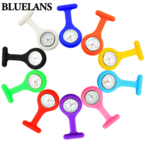 Cute Silicone Nurse Watch Brooch Fob Pocket Tunic Quartz Movement Watch 937E nursing medical hanging watch pattern plain silicone nurse fob watch brooch tunic watches