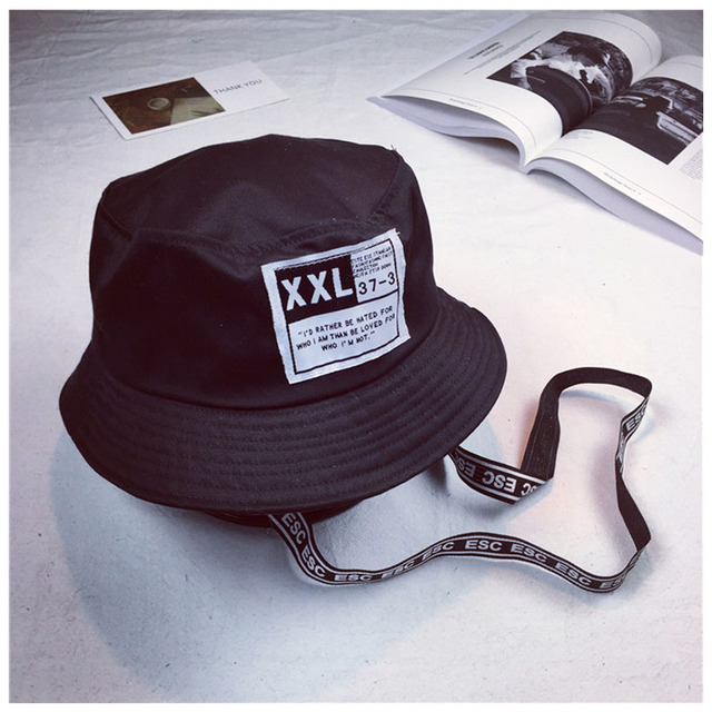 78f529511ff New 2018 Men Women Bucket Hats Japan and Korea Street Style Harajuku  Letters Print Streamers Lace Up Cap Ladies Summer Sun Hat