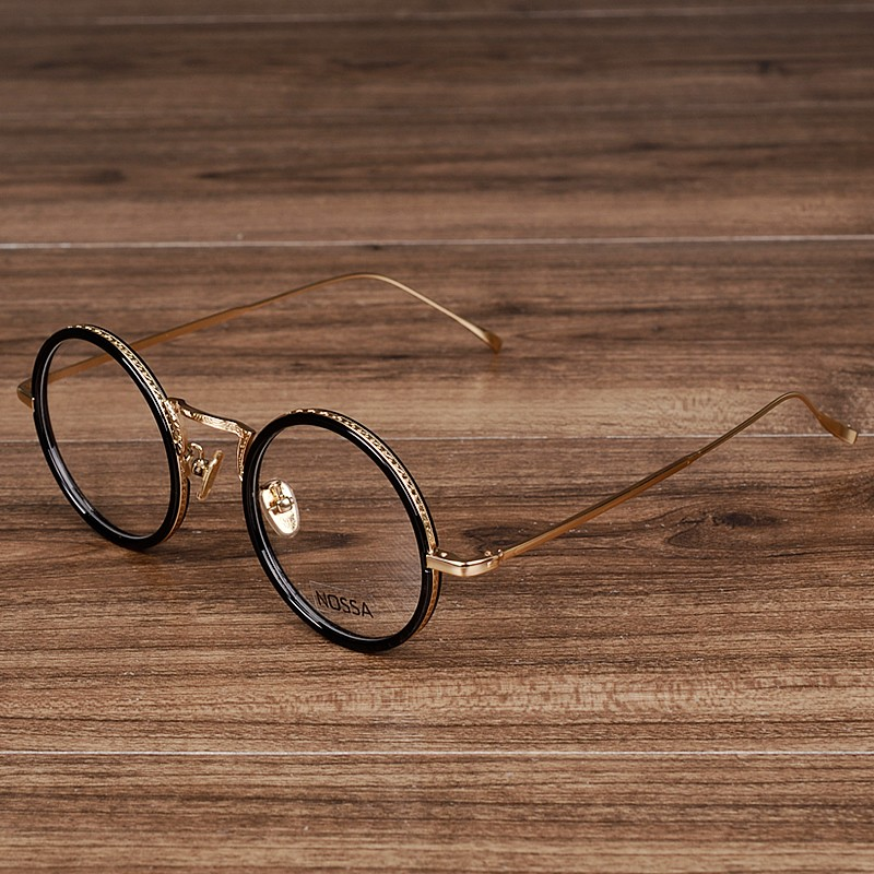 Syzet e rrumbullakëta të grave dhe burrave NOSSA për femra Elegante transparente syze transparente Veshjet prej ari optike me ngjyrë të artë transparente