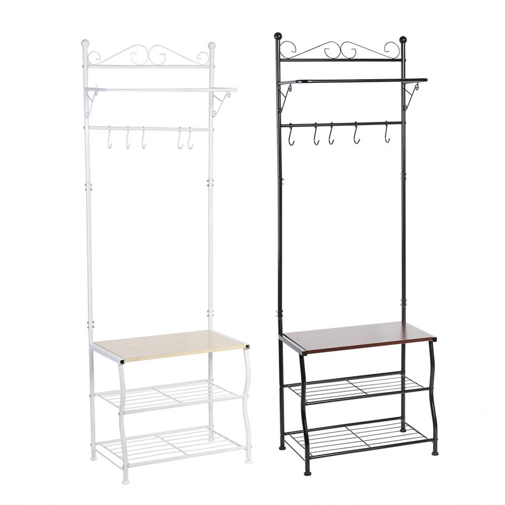 Metal Storage Shoe Bench Home Hallway Entryway 3 Tiers Shelf With Coat Rack And Hooks In Brackets From Home Improvement On Aliexpress Com