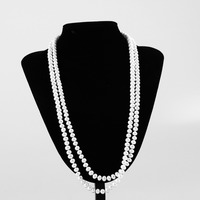 100 Natural 8mm Nearround Pearl Necklace White Freshwater Pearl Long Necklace 70cm