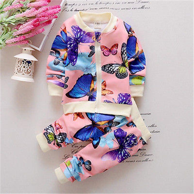 Newbaby 2 PCS Bayi Balita Anak Perempuan Jaket Pakaian Kupu-kupu - Pakaian anak anak - Foto 4