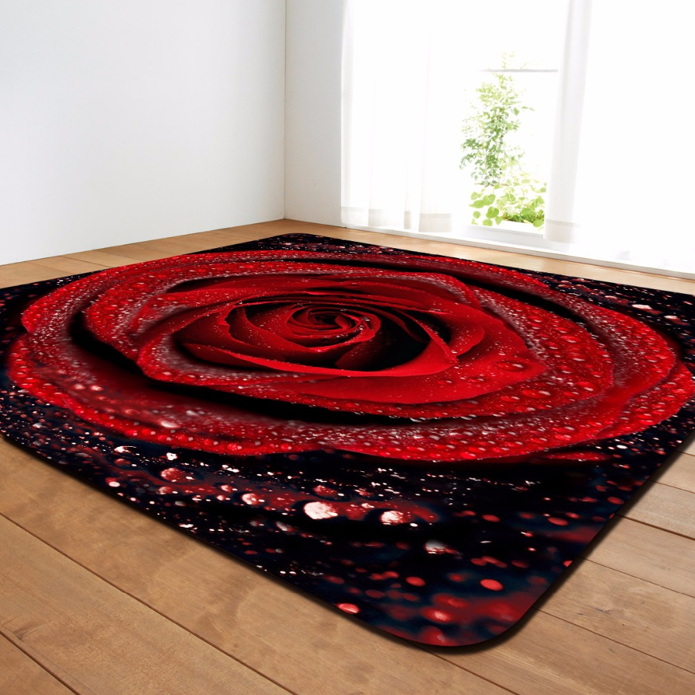3D Romantic Rose Area Rugs Big Parlor Carpets Mat Soft Flannel Valentine's Day Home Decorative Rug And Carpet For Living Room