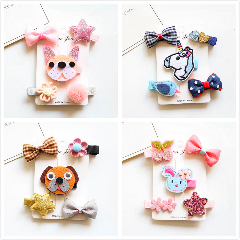 New 5pcs animal hair bow Hairpins children stars Cartoon hair clips kids girls crown Barrettes hair Accessories headwear T41