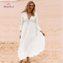 Fashion Chiffon Long Dresses Women Lace Sleeves Vestidos Bandage Front Summer Vintage Beach