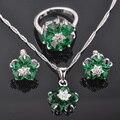 Pretty Green Pedra Zircônia Cúbica Conjuntos de Jóias de Prata das Mulheres Brincos/Pingente/Colar/Anéis Frete Grátis QZ063