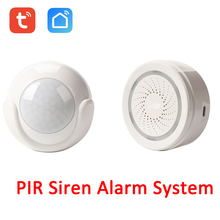Smart Life Wireless WiFi Tuya PIR Motion Detector Sensor Linkage Alarm with 100DB Siren Sensor