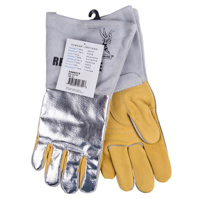 welding gloves 350 degree Celsius high temperature resistant safety gloves cowhide aluminum foil reflective hot work glove
