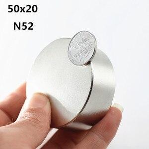 Image 1 - 1 قطعة N52 مغناطيس النيوديميوم 50x20 ملليمتر سوبر قوية القرص المستدير نادر الأرض قوية gallium المعادن مغناطيس عدادات مياه المتكلم 50*20