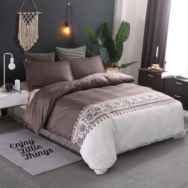 Brown Color Brief Floral Duvet Cover Set Bed Set Twin Double Queen size Bed linen Bedclothes bedding sets(No Sheet No Filling)