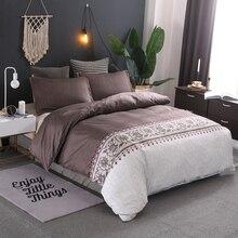 Color marrón breve juego de funda nórdica Floral cama doble de tamaño de Reina ropa de cama juegos de cama (sin sábana No relleno)