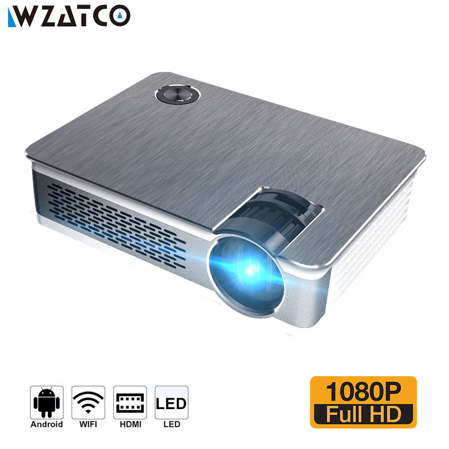WZATCO CT580 Android 7.1 Full HD LED Projector 3800Lumen Home Theater Portable Real 1080P High Resolution Beamer LED Proyector imego g20 interactive projector full hd led projector multimedi video home theater business office portable proyector beamer