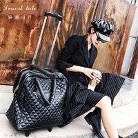 Travel Tale High Quality Fashion 18 Inch 100 PU Rolling Luggage Spinner Brand Travel Suitcase Handbag
