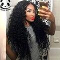 250% densidad Glueless frente del cordón del pelo humano pelucas profundo rizado chino virgen del pelo humano del frente del cordón pelucas negro mujeres peluca rizada