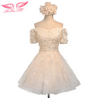 AnXin SH Flower Evening Dress Champagne Flower Lace Evening Dress Sisters Flower Lace Evening Dress S