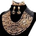Boda nigeriano Beads Africanos Joyería Conjunto Oro Negro Crystal Rhinestone Flower Granos Cristalinos de La Joyería de Oro Conjuntos de Joyas