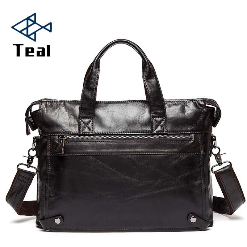2019 Genuine Leather Men Briefcase File Bag Business Black Men's Notebook Bag Men Travel Bag  Briefcase High Quality