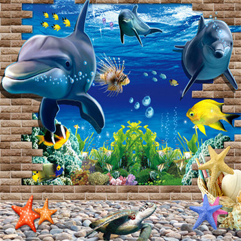 1PCS Waterproof 3D Sea Whale Fish Wall Stickers for Kids Room Removable DIY PVC Sticker Wallpaper Decals Bathroom Decoration beauty little girl wall sticker pvc wallstickers wall art wallpaper for kids room decoration waterproof adesivi murali lw588
