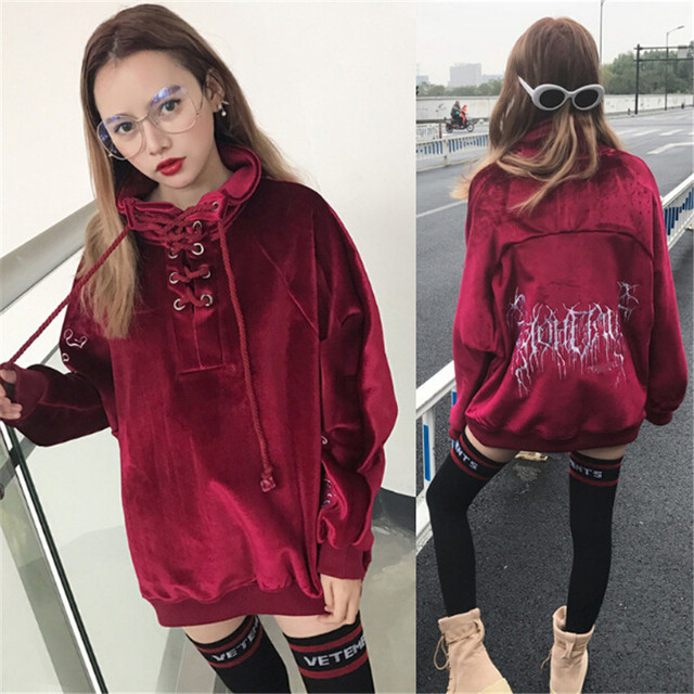 2017 new Tokyo Japan Harajuku girls street fashion women than in the winter warm Pullover Hoodie casual velvet embroidery 1
