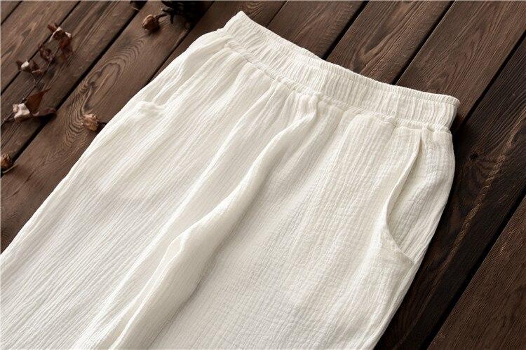 2019 Spring Autumn Retro Vintage Soft Sweat Trousers Original Cotton Linen Women Ankle Length Straight Pants in Pants amp Capris from Women 39 s Clothing