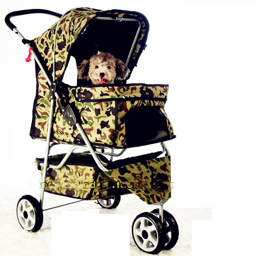 2016 Newly Designed camouflage Pet Stroller Cat / Dog Easy Walk Folding Travel Carrier Carriage with rain cover