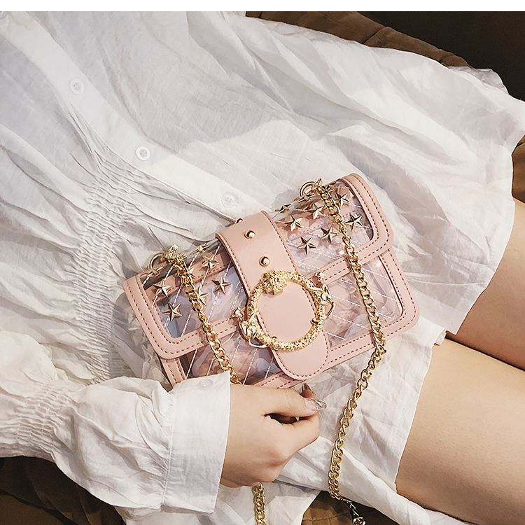 PINK Starry Transparent Jelly Clear bag Cute Girl Lock Chain Shoulder Messenger bag
