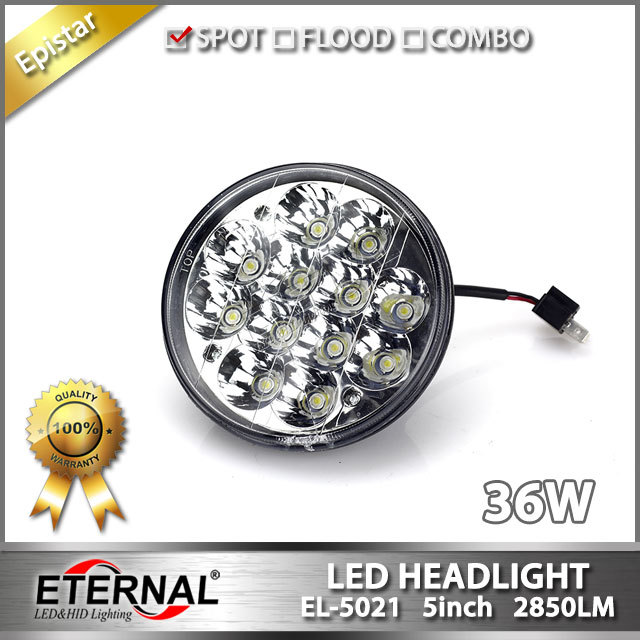free shipping 2pcs 36W round 5in universal led headlight applicate for Oldsmobile light medium heavy-duty trucks classic cars
