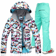 Gsou Snow 2017 Women Skiing Suit Winter Ski Sports Outdoor Snowboard Pants+Jackets Snowboarding Jacket Snow Wear Ski Jacket Sets недорого