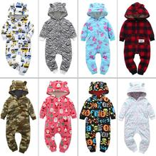 New spring and autumn young children thick fleece jumpsuit hooded child climbing clothes winter