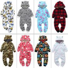 Nieuwe lente en herfst jonge kinderen dikke fleece jumpsuit hooded kind klimmen kleding winter