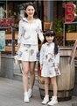 Осень и зима 2017 мода хлопок толстовки юбка мать и дочь одежда сопоставления семьи clothing наборы семья посмотрите