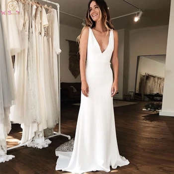 Romantic Boho Bridal Gowns Ivory Mermaid Deep V Neck Simple Wedding Dresses 2019 Sleeveless Appliques Lace Long Robe De Mariee Buy At The Price Of 80 24 In Aliexpress Com Imall Com,Short Royal Blue Dress For Wedding Guest