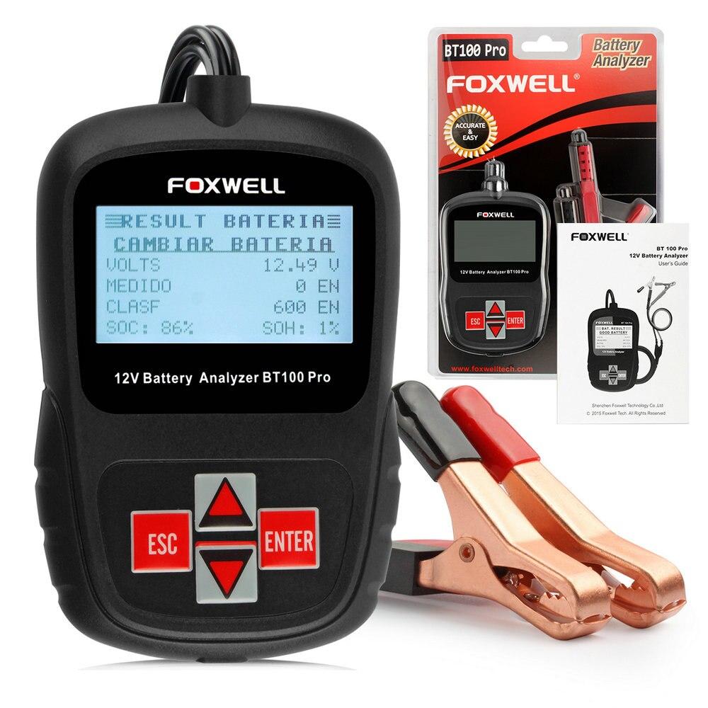 Prix pour 2017 Multi Langues 12 V CCA Voiture Testeur de Batterie Analyseur Foxwell BT100 Automobile 12 Tension Au Démarrage en Charge Livraison Gratuite