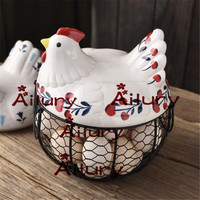 Hen storage basket wrought iron basket egg basket potato garlic container ornaments hollow container basket