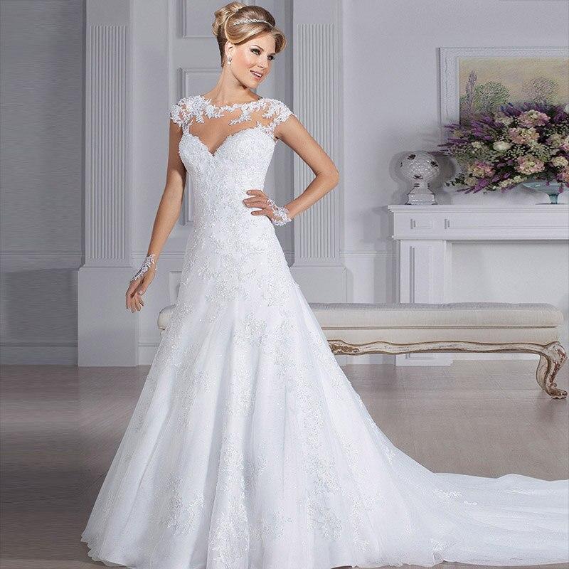Illusion neckline wedding dress reviews online shopping for Aliexpress wedding dress reviews